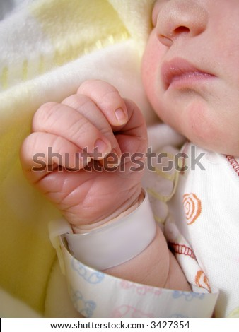 delicate features of a  one day old baby peacefully sleeping with hospital bracelet