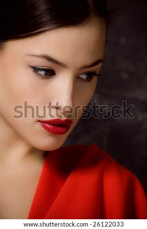 delicate female face, semi profile - stock photo