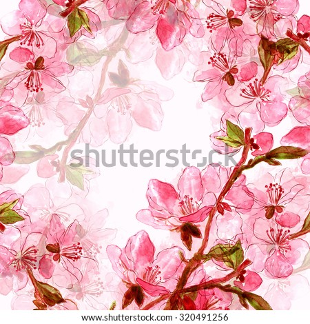 delicate Japanese cherry blossoms - digital and watercolor artwork - background for wedding invitations or another design with space for your text  - stock photo