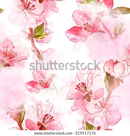 delicate Japanese cherry blossoms - digital and watercolor artwork - seamless pattern for textiles, fabrics, souvenirs, packaging and greeting cards - stock photo
