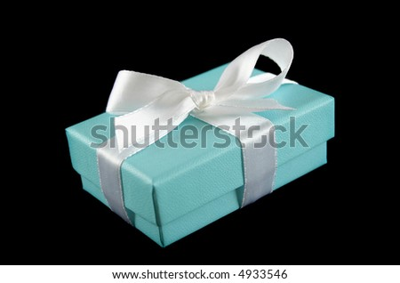 Delicate powder blue gift box with silver bow.