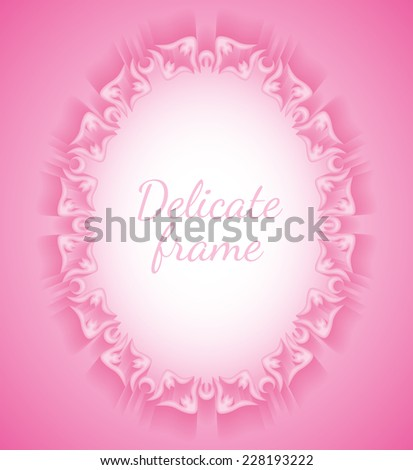 Delicate rose convex oval frame made of paper in the form of floral ornament, cast a shadow - stock photo