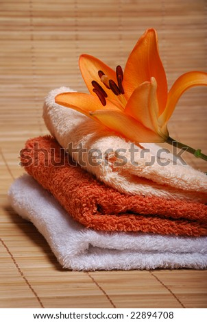 delicate towels for spa therapy. bathroom still-life decoration.