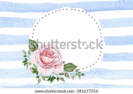 Delicate watercolor rose on blue striped background - stock photo
