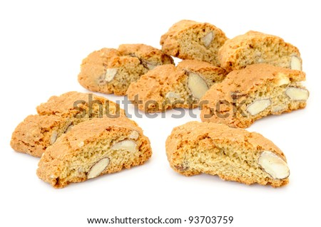 Delicious almond biscuits on white background