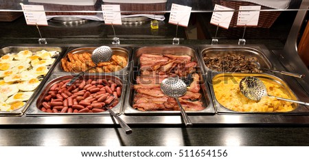 Delicious and abundant breakfast buffet with various sorts of food