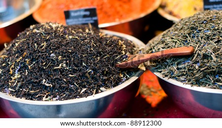Delicious and aromatic green tea herbs for sale at a local market - stock photo