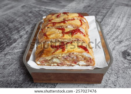 Delicious and fresh pizza sandwich  - stock photo