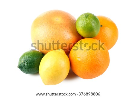 delicious and healthy citrus fruits isolated on white background lie in a heap - stock photo