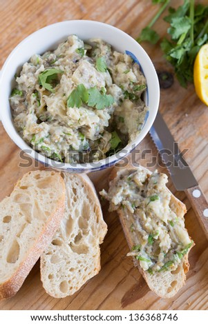 Delicious and healthy eggplant dip - stock photo