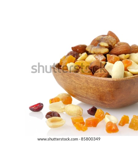 Delicious and healthy mixed dried fruit, nuts and seeds