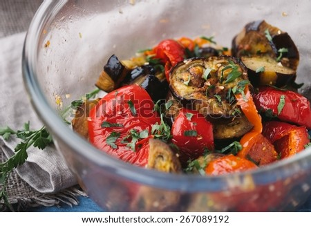 Delicious And Healthy Roasted Vegetables - stock photo