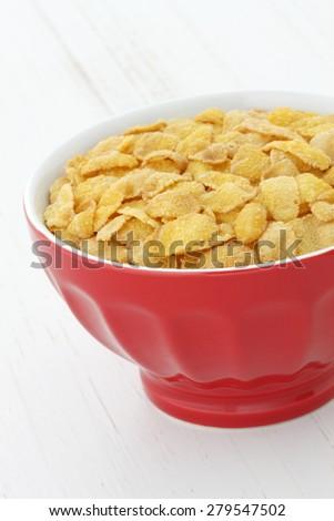 delicious and healthy wholegrain corn flakes breakfast.  - stock photo