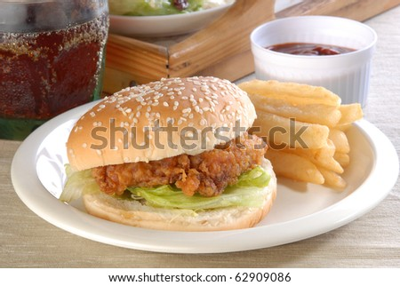Delicious and juicy chicken burger - stock photo