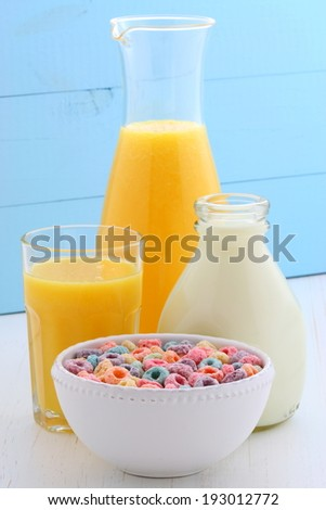 delicious and nutritious, cereal loops, with healthy organic orange juice
