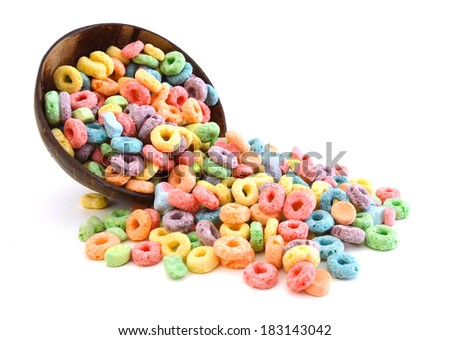 Delicious and nutritious fruit cereal flavorful in wooden bowl on white background  - stock photo