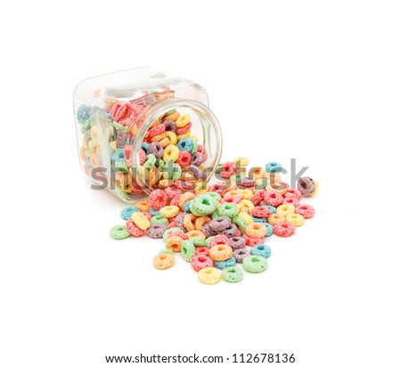 Delicious and nutritious fruit cereal loops flavorful - stock photo