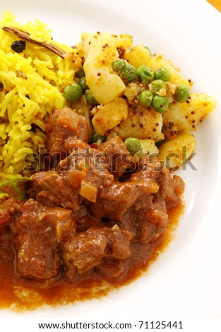 Delicious and spicy Indian beef curry served with pappadums. - stock photo