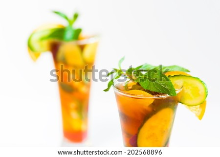 delicious and tasty alcohol cocktail Pimms beautiful background