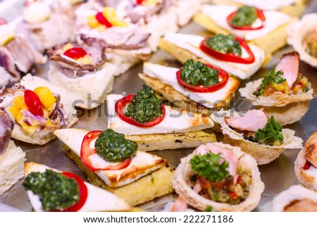 Delicious and tasty catering appetizer food. - stock photo