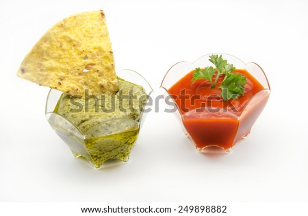 Delicious appetizer corn tortillas typical Mexican Dining - stock photo