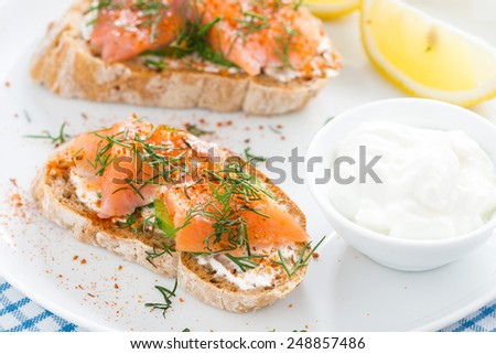 delicious appetizer with bread, salted salmon and cream cheese, close-up - stock photo