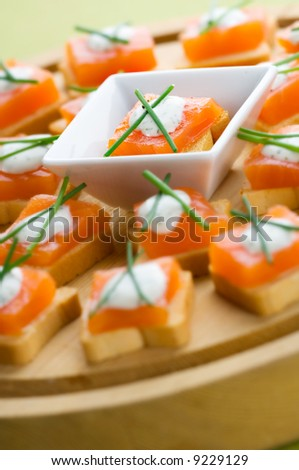 Delicious appetizers with smoked salmon and dill sauce - stock photo