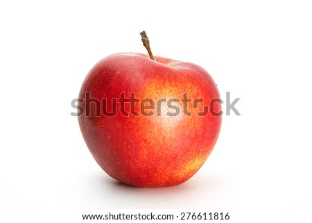 Delicious appetizing beautiful fresh red apple isolated on a white background. - stock photo