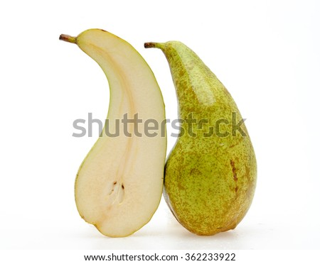 delicious appetizing ripe pear nice cut on a white background - stock photo