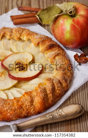 Delicious apple pie and spices.