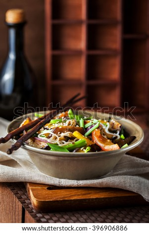 Delicious asian rice noodles with vegetables (wok) - stock photo