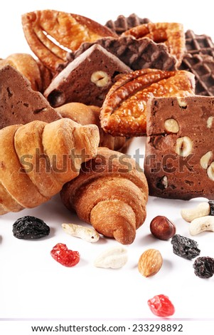 delicious assorted cookies and pastries for a holiday - stock photo