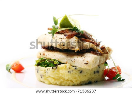 Delicious Baked shark meat with mashed potatoes - stock photo