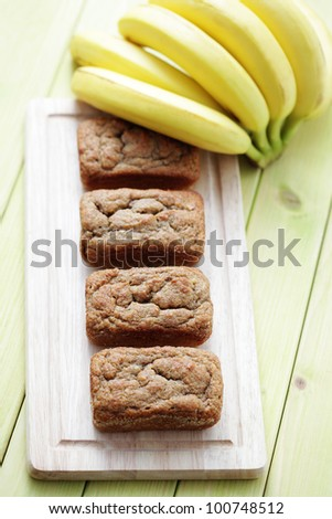 delicious banana breads with fresh fruits - sweet food /shallow DOFF/ - stock photo