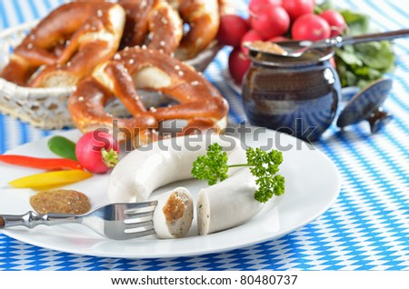 Delicious Bavarian white sausages