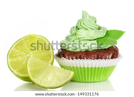 Delicious beautiful key lime cupcake isolated on white