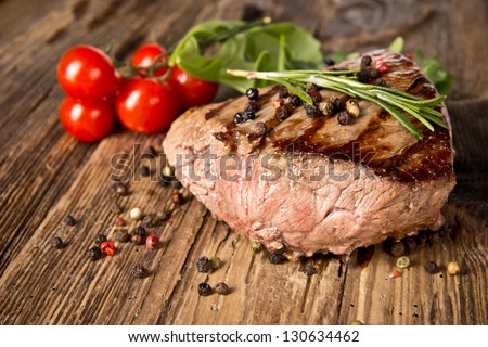 Delicious beef steak - stock photo