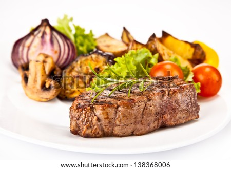 Delicious beef steak isolated on white background