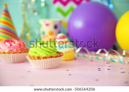 Delicious birthday cake on festive background, closeup