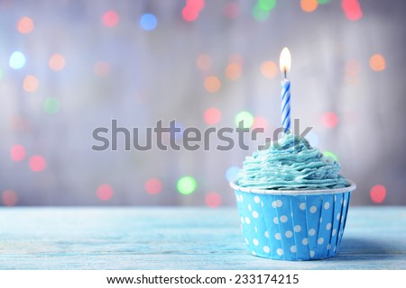 Delicious Birthday Cupcake On Table On Stock Photo Edit Now