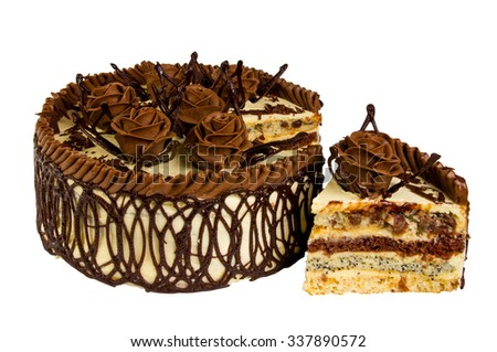 Delicious biscuit cake with chocolate isolated on white background