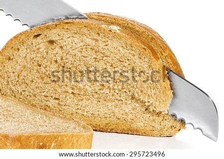 delicious bread and knife stuck