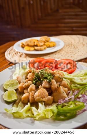 Delicious breaded calamari served with plantain chips, Manabi, Ecuador - stock photo