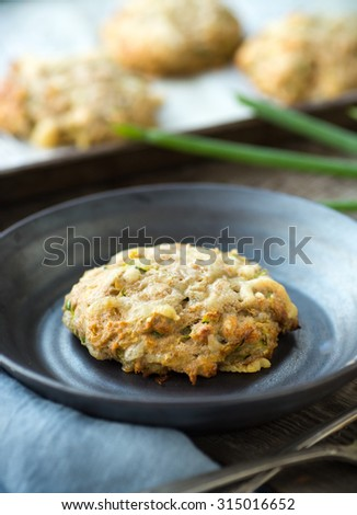 Delicious breakfast scones with zucchini and green onions - stock photo