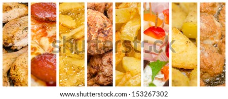 Delicious But Unhealthy Variety Of Fast Food Collage - stock photo