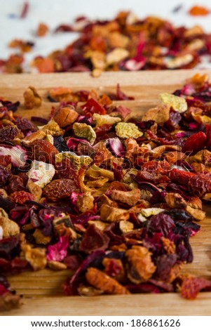 Delicious caffeine-free infusion of dried fruit, acai and goji berries. - stock photo
