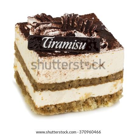 Delicious cake close-up isolated on a white background. Tiramisu. - stock photo
