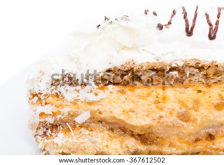 Delicious cake with chocolate and coconuts. Macro. Photo can be used as a whole background. - stock photo