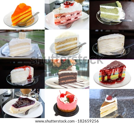 Delicious cakes as cream cake, fruit cake and etc.  - stock photo