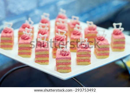 Delicious canapes platter - stock photo